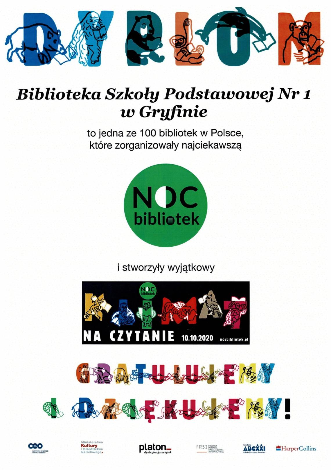 Wyróżnienie - Noc Bibliotek 2020